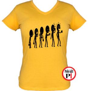 kávé póló evolúció női citrom