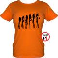 kávé póló evolúció női narancs