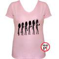 kávé póló evolúció női pink