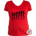 kávé póló evolúció női piros