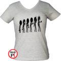 kávé póló evolúció női szürke
