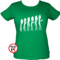 kávé póló evolúció női zöld