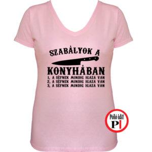 szakács póló konyha szabály női pink