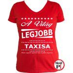 ajándék taxi póló női piros