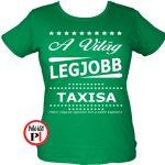 ajándék taxi póló női zöld
