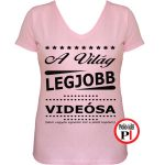 ajándék videós póló női pink