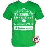 gratulálok állatorvos póló zöld