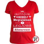 gratulálok állatorvos póló női piros