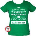 gratulálok állatorvos póló női zöld