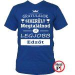 gratulálok edző póló kék