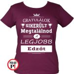 gratulálok edző póló női burgundi