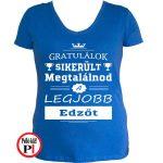 gratulálok edző póló női kék