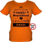 gratulálok edző póló női narancs