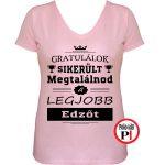 gratulálok edző póló női pink