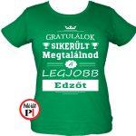 gratulálok edző póló női zöld