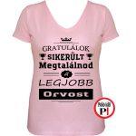 gratulálok orvos póló női pink