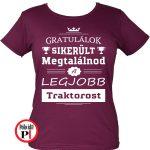 gratulálok traktoros póló női burgundi