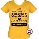 gratulálok traktoros póló női citrom