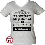 gratulálok traktoros póló női szürke