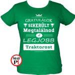gratulálok traktoros póló női zöld