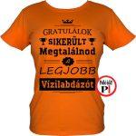 gratulálok vizilabdás póló női narancs