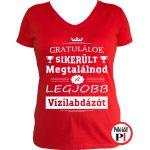 gratulálok vizilabdás póló női piros