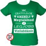 gratulálok vizilabdás póló női zöld