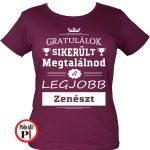 gratulálok zenekaros póló női burgundi