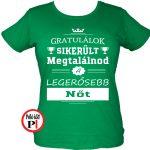 gratulálok kondi gyúros póló női zöld