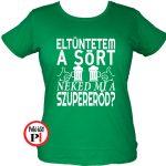 sörös póló eltüntetem női zöld